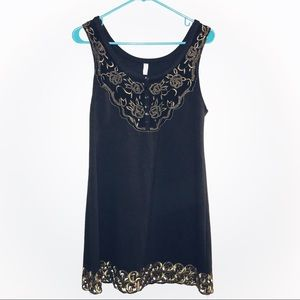 Free People Gold Embroidered Black Tank Dress